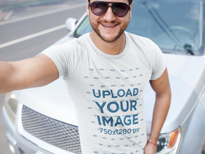 Smiling Middle Aged Dude Wearing a Tshirt Mockup While Near a Car a15997