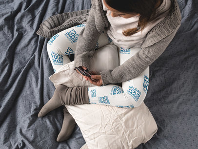Top Shot of a Young Girl Wearing Leggings Template While Sitting on her Bed a15702