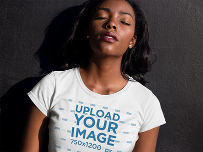 Closeup Mockup of a Beautiful Girl Wearing a Tshirt with her Eyes Closed a16072