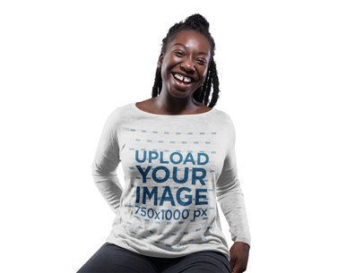 Happy Girl with Dreadlocks Wearing a Bella Flowie Long Sleeve Off Shoulder Tee Mockup Against a Solid Background a16193