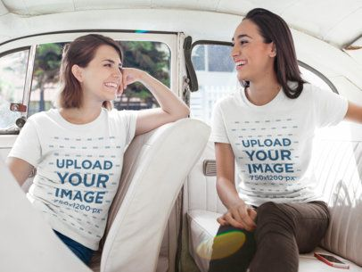 Two Happy Girls Talking While Wearing Different Tees Template Inside a White Car a16245