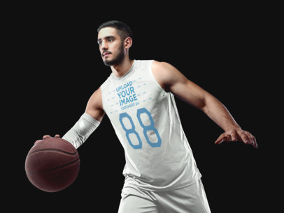 Basketball Jersey Maker - Muscular Man Dribbling with Ball a16358