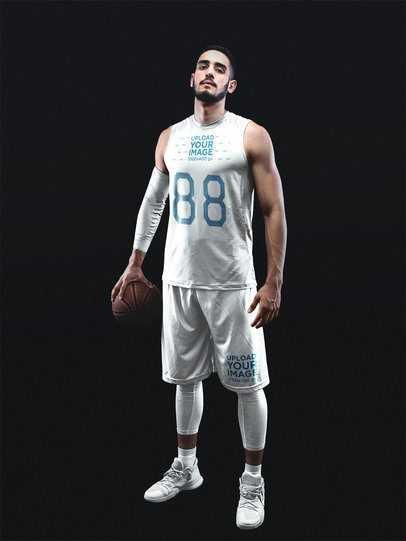 Basketball Jersey Maker - Serious Man Standing in Black Room a16359