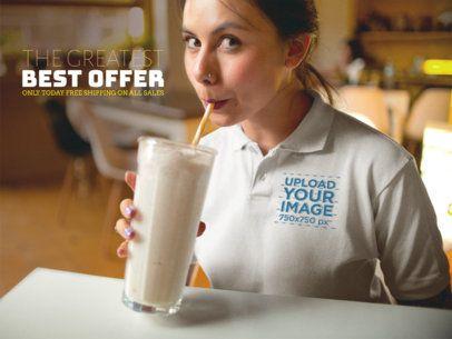 Facebook Ad - Girl Drinking a Milkshake Wearing a Polo Shirt 15417