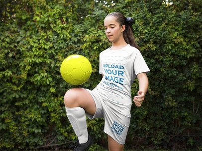 Custom Soccer Jerseys - Girl Playing with the Ball a16386