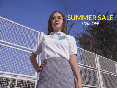 Facebook Ad - Girl Wearing Sunglasses Wearing a Polo Shirt Outdoors a15719