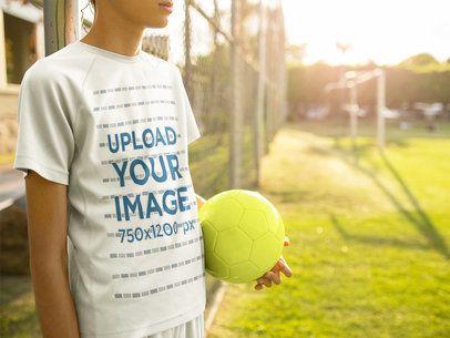 Custom Soccer Jerseys - Boy Holding the Ball a16393
