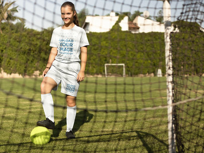 Custom Soccer Jerseys - Little Girl About to Kick the Ball a16375