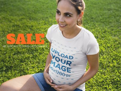 Facebook Ad - Happy Pregnant Mom Wearing a Round Neck Tee While at the Park a16335
