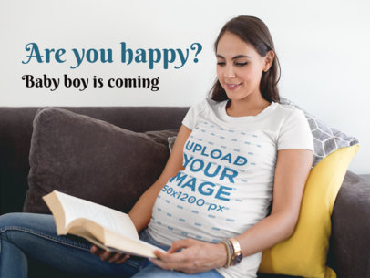 Facebook Ad - Pregnant Mom Reading Wearing a T-Shirt a16330