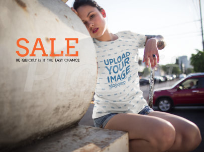 Facebook Ad - Hispanic Girl Wearing Sublimated Tee While Outdoors a15420