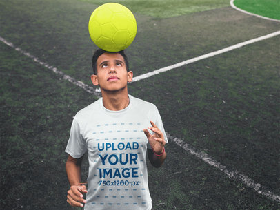 Custom Soccer Jerseys - Teen with Ball in Head a16485