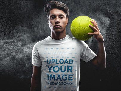 Custom Soccer Jerseys - Man Holding a Ball on his Shoulder a16486