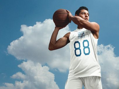 Basketball Jersey Maker - Teen Dribbling in the Sky a16498