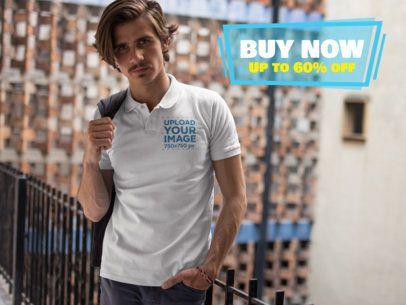 Hipster Man Wearing a Polo Shirt Mockup While Looking at the Camera a15376