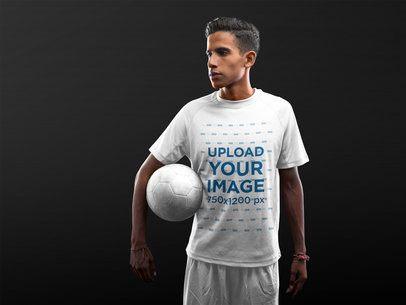 Custom Soccer Jerseys - Teen Holding the Ball a16483