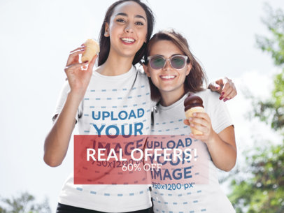 Facebook Ad - Two Girlfriends Eating Ice Cream Wearing T-Shirts a16250