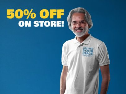 Facebook Ad - Happy Senior Man Wearing a Polo Shirt a15745