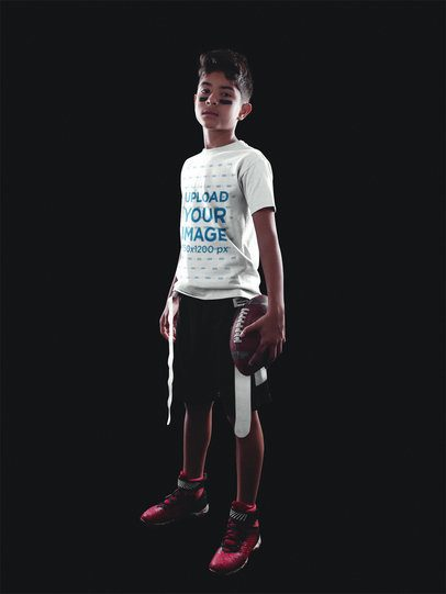 Football Jersey Generator - Kid Standing in Black Room a16493
