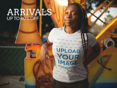 Facebook Ad - Black Girl with Dreadlocks Wearing a T-Shirt a15958