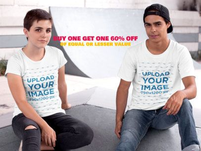 Instagram Ad - Two Friends Wearing Round Neck Tshirts Mockup at the Skate Park a16433