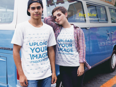 Couple Wearing Different Round Neck Tees Mockup Against a Blue Van a16443