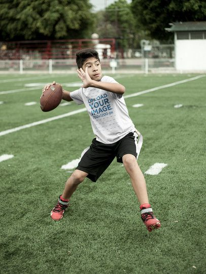 Custom Football Jerseys - Kid About to Throw the Ball at the Field a16474