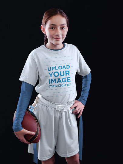 Custom Football Jerseys - Happy Girl in Studio a16530