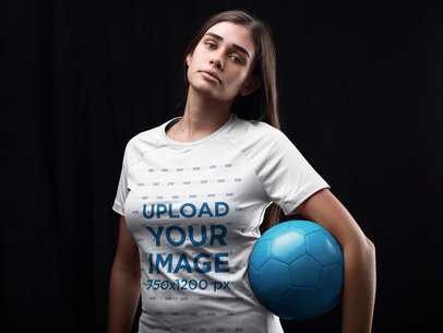 Custom Soccer Jerseys - Teen Girl Holding the Ball Inside the Studio a16525
