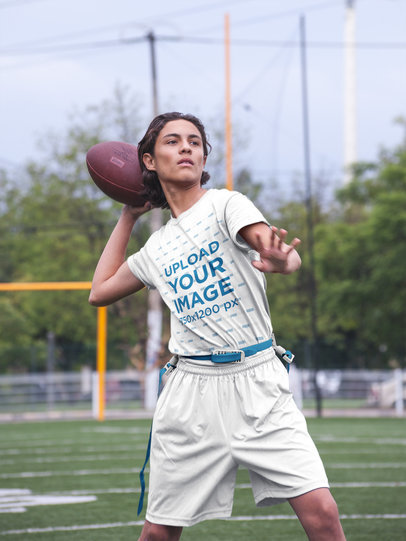 Custom Football Jerseys - Teenager Throwing the Ball at the Field a16576