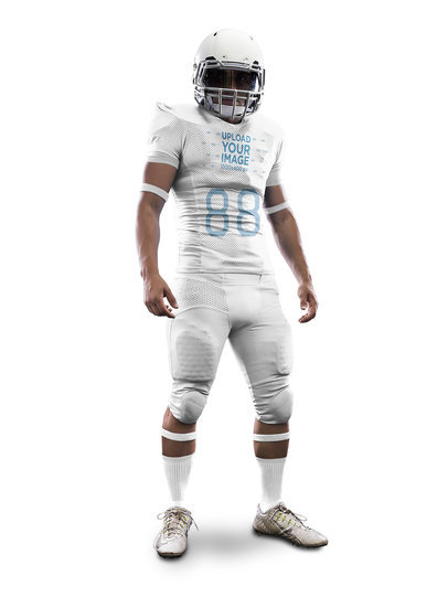 Custom Football Jerseys - Muscular Man Standing Against a Solid Background a15905
