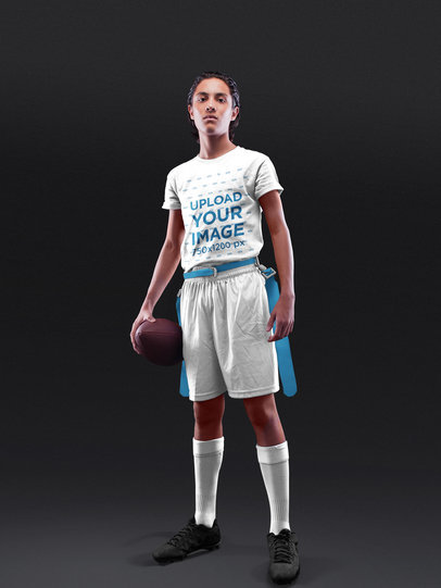 Custom Football Jersey - Young Boy Standing While Holding the Ball a16582