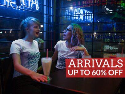 Facebook Ad - Girls Talking at Night While Having Milkshakes and Wearing T-Shirts a16430