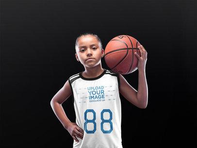Basketball Jersey Maker - Little Black Girl Holding the Ball on her Shoulder a16591