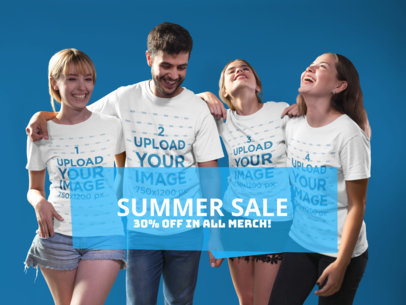 Facebook Ad - Group of Four Happy Friends Wearing Different Tshirts a16274