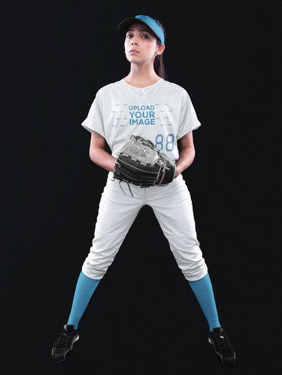Custom Softball Jerseys - Girl with Glove a16693