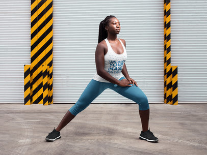 Black Girl with Dreadlocks Wearing a Tank Top Mockup While Stretching a16749