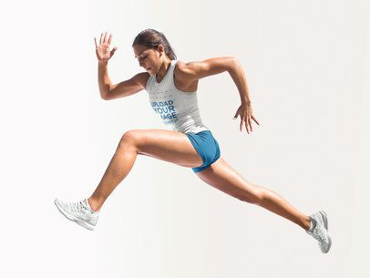 Track and Field Uniforms - Girl Jumping Against Solid Backdrop a16764