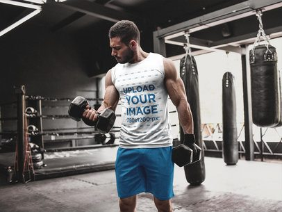 Man Lifting Weights While Wearing Custom Athletic Apparel Template a16798