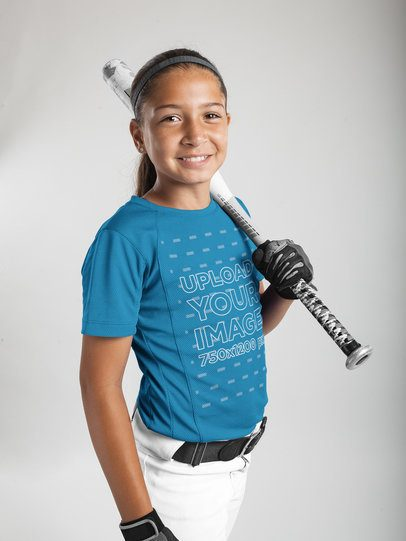 Custom Softball Jerseys - Smiling Little Girl Holding the Bat a16807