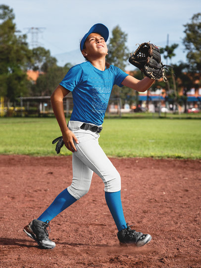 Custom Softball Jerseys - Girl About to Catch a Ball at the Field a16811