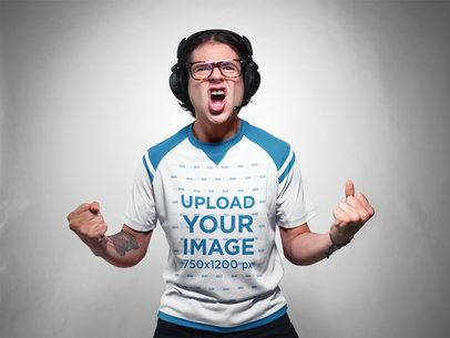 eSports Jersey - Excited Man with Headphones a16783