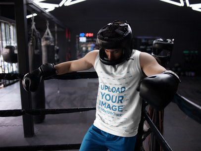 Man Resting After Hard Sparring While Wearing Custom Sportswear Mockup a16806