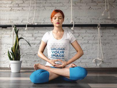 Girl Meditating in Yoga Lotus Position Wearing Custom Sportswear Mockup a16837