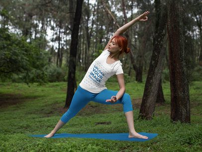 Mockup of a Woman Wearing Custom Sportswear While Doing Yoga in the Woods a16838