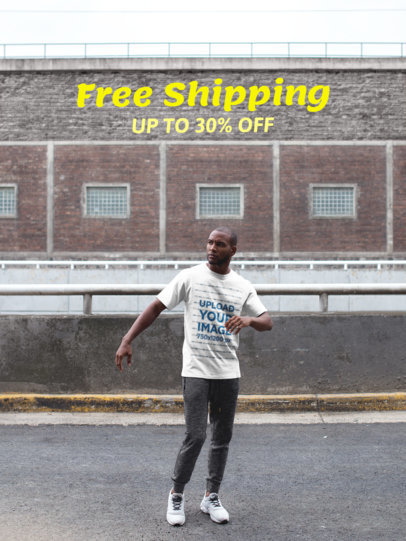 Facebook Ad - Black Man Wearing a T-Shirt While Outdoors a16902
