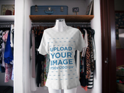 T-Shirt on a Mannequin Mockup at a Store a16942