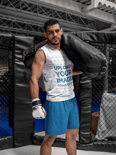 Mockup of a MMA Student Wearing Custom Sportswear at the Hexagon a17033