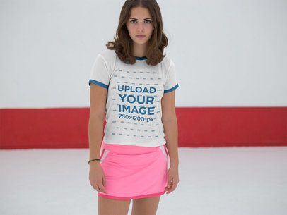 Beautiful Girl Wearing a Ringer Tee Mockup with a Pink Skirt  a17051