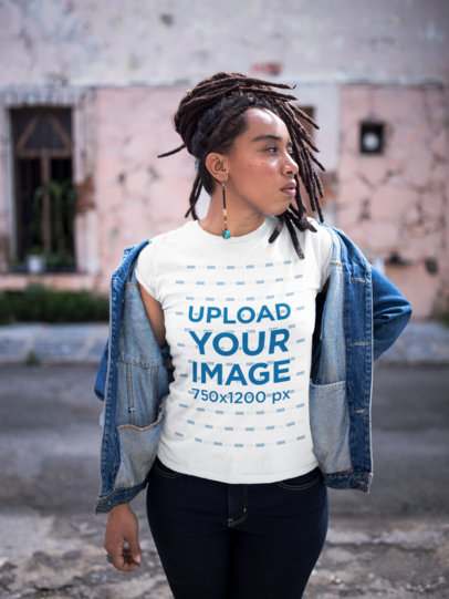 Mockup of a Girl with Locks Wearing a T-Shirt While Looking to the Side a17140